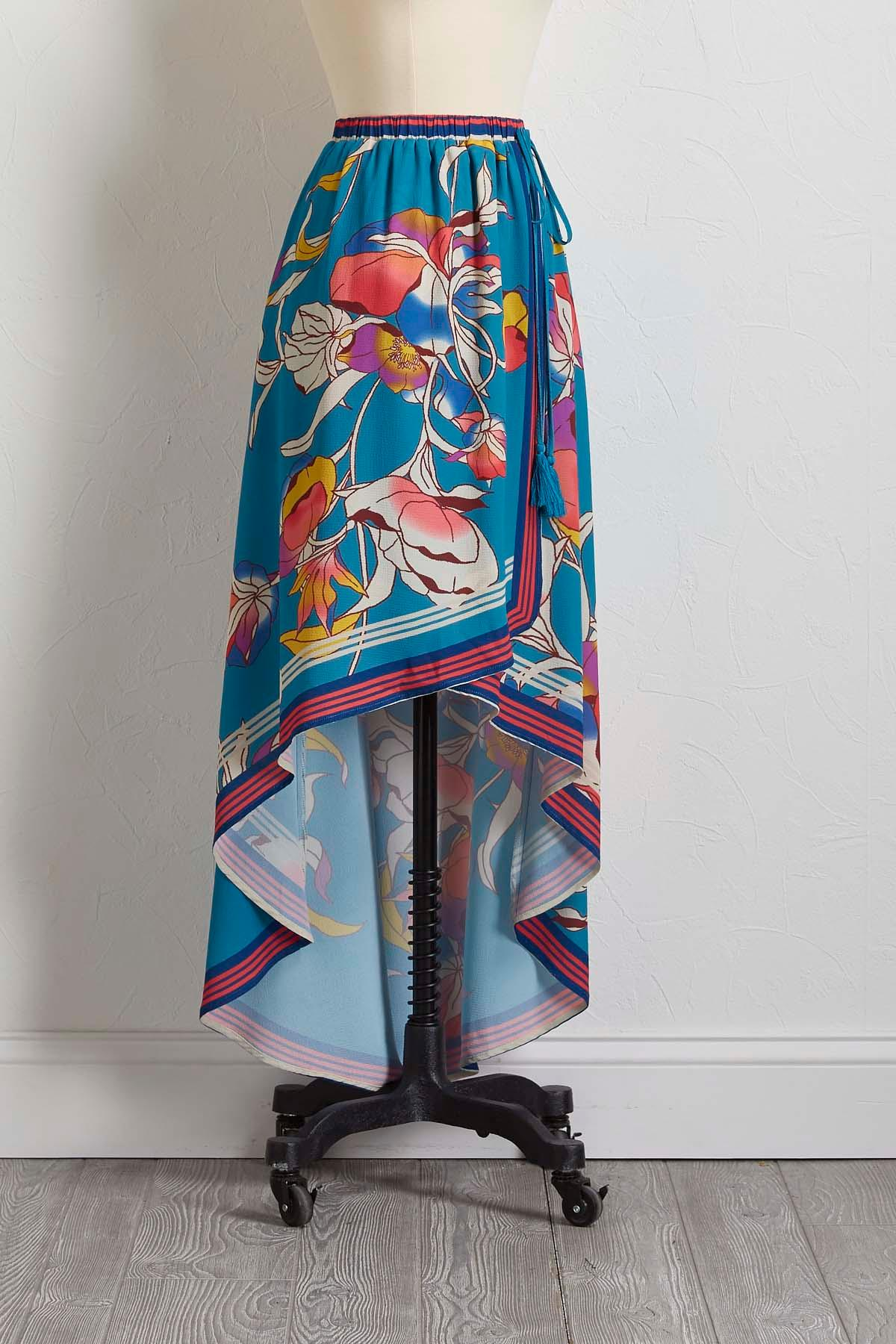 High- Low Teal Floral Skirt