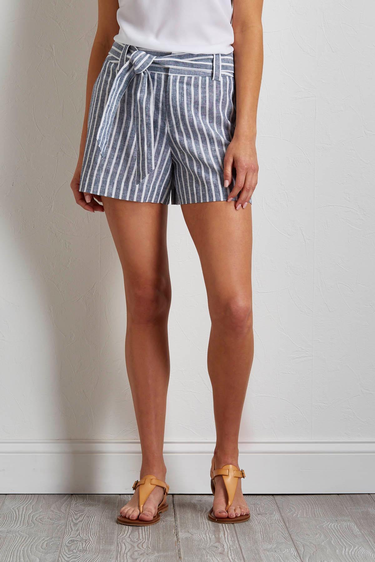 Striped Tie Waist Linen Shorts