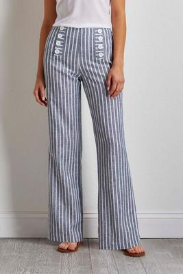striped button front linen pants