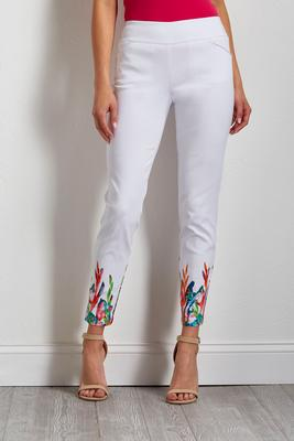 white floral bengaline pants