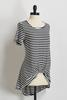 Striped Knotted Front Tunic Top