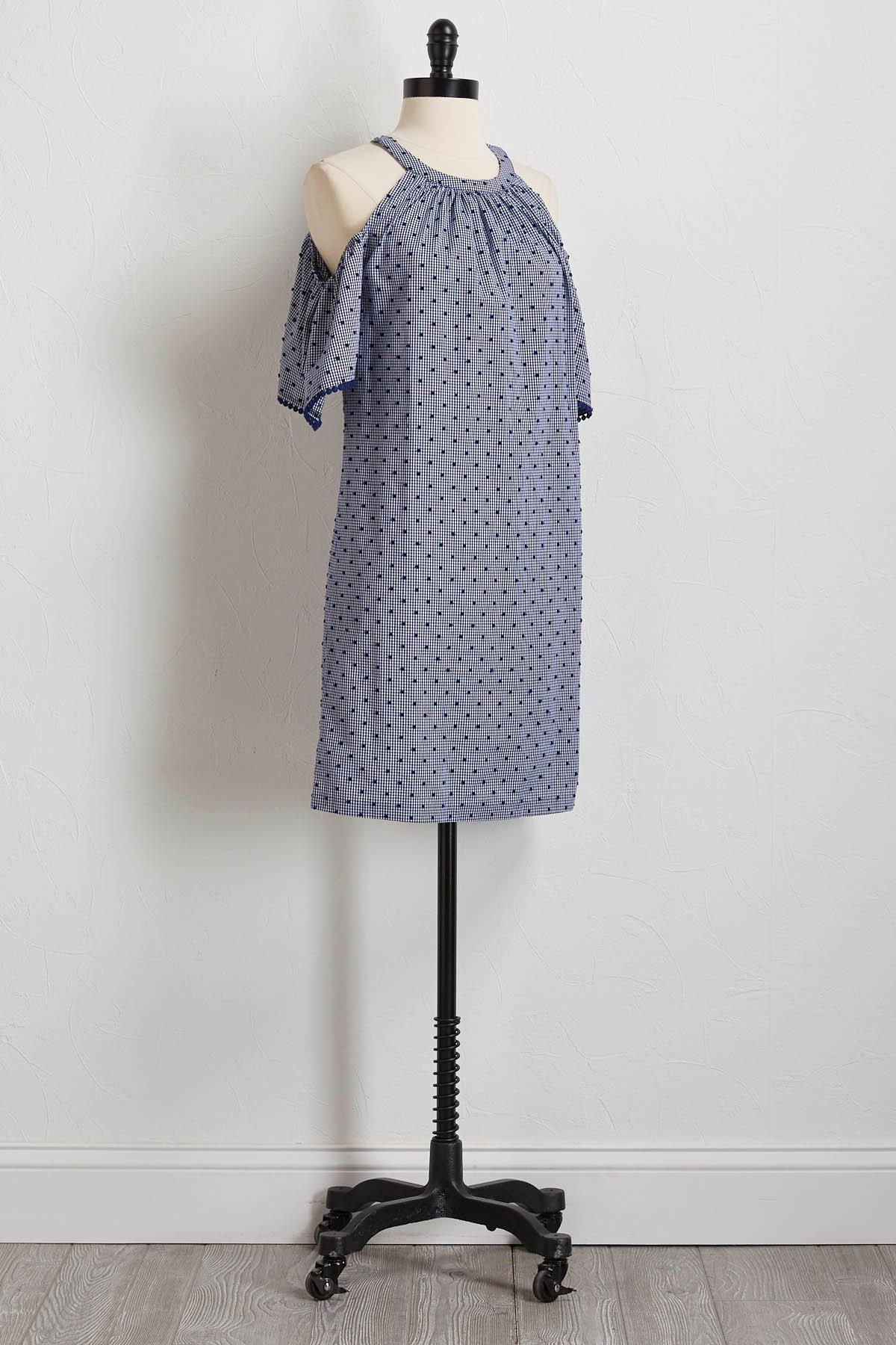 Swiss Dot And Gingham Shift Dress