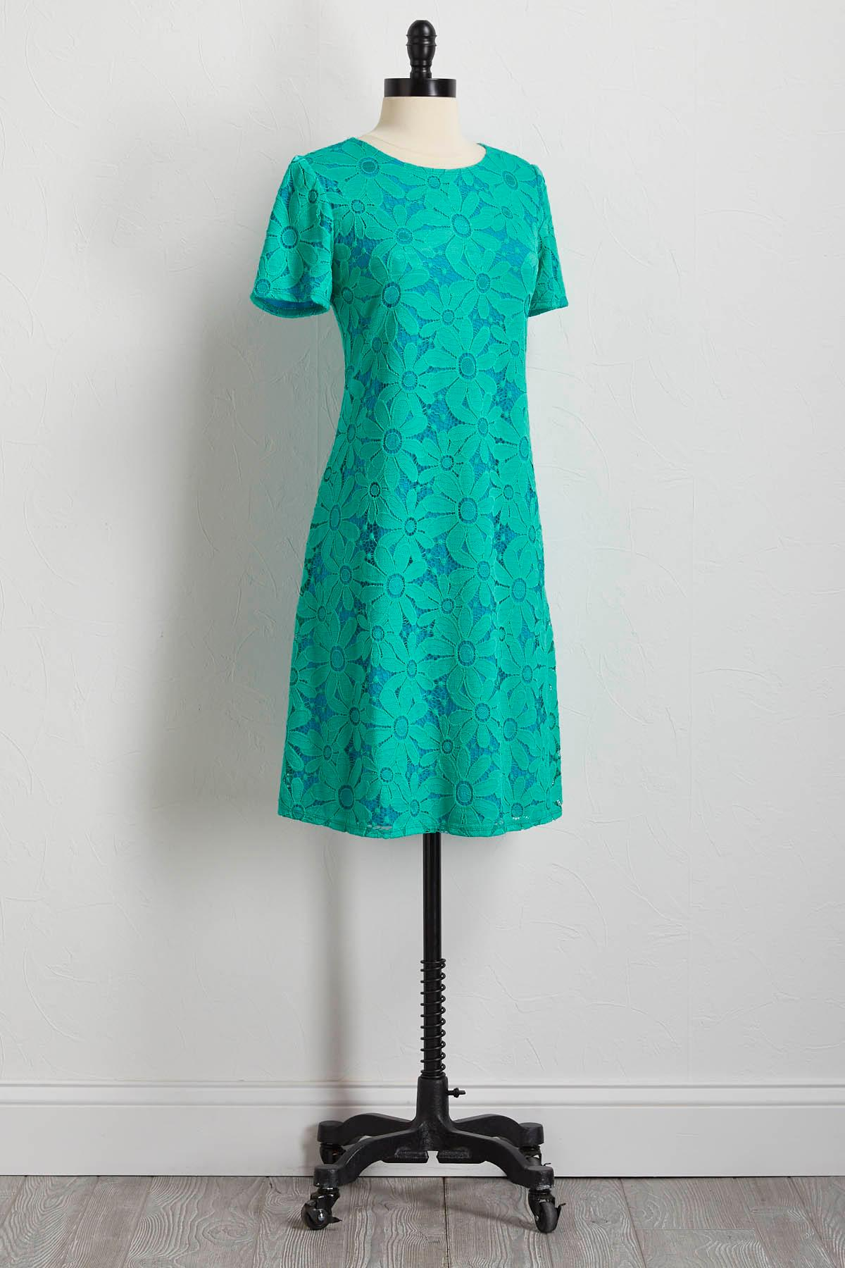 Daisy Lace Overlay Shift Dress