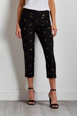 cropped pineapple bengaline pants