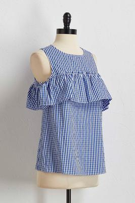 gingham ruffled bare shoulder top