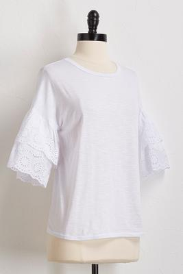 eyelet bell sleeve knit top