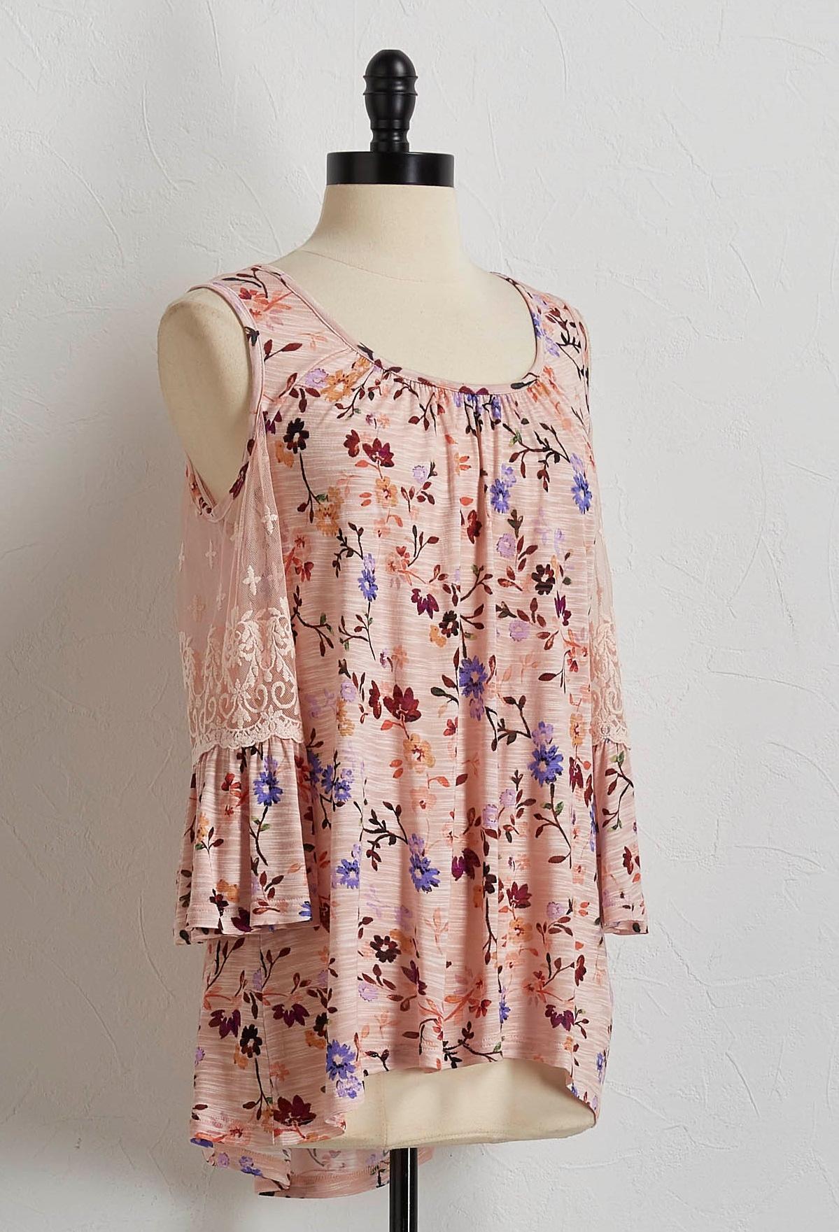Blush Floral Bare Shoulder Top