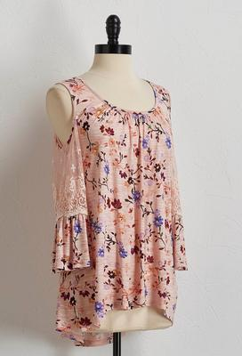 blush floral bare shoulder top