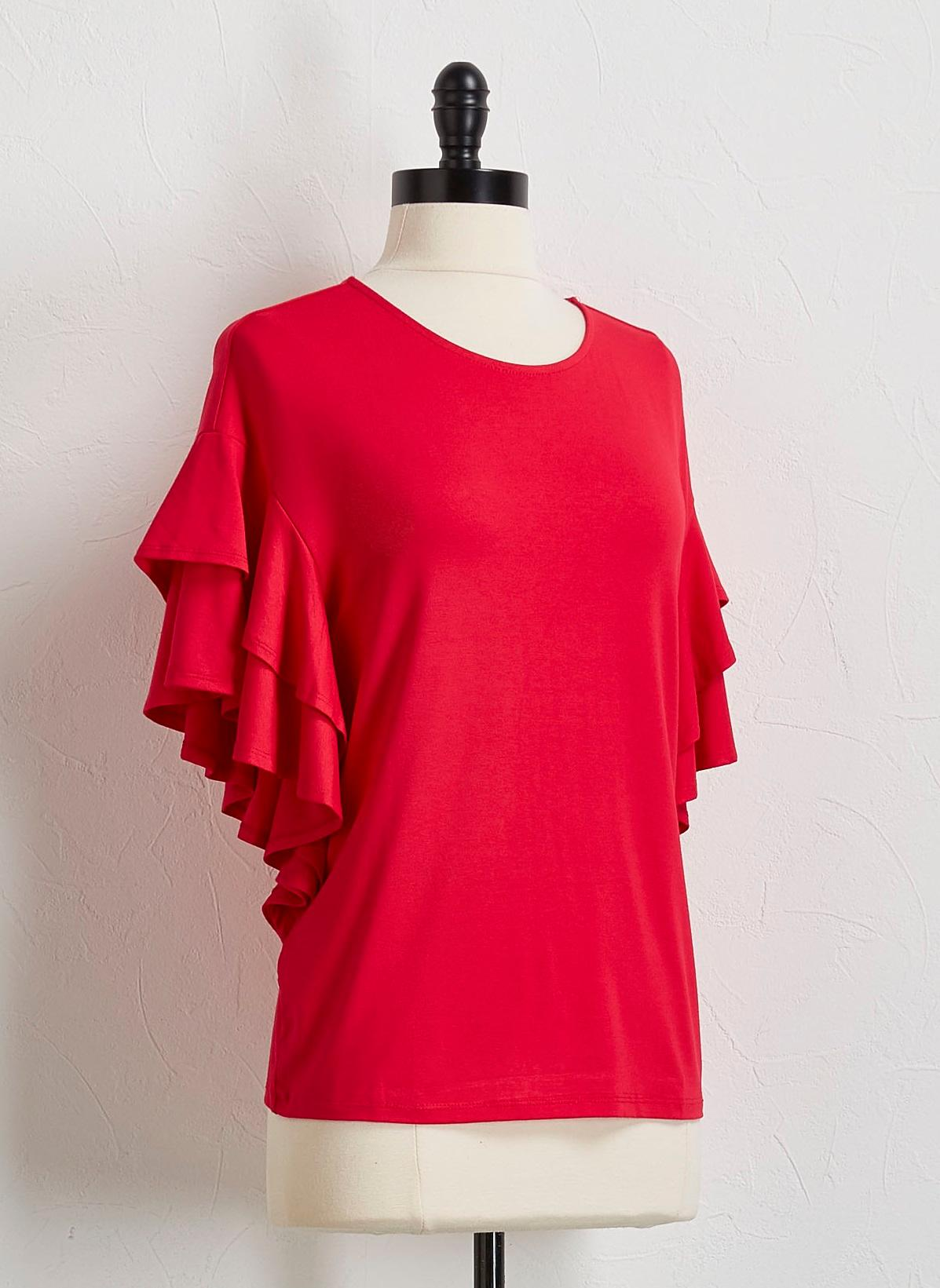 Solid Tiered Flutter Sleeve Top