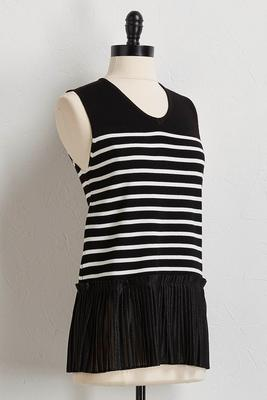 pleated hem stripe sweater