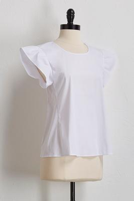 flutter sleeve poplin top