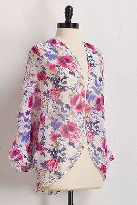 floral ruffle sleeve kimono