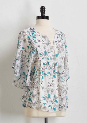 sketched floral kimono top