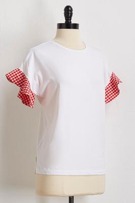 gingham flutter sleeve top
