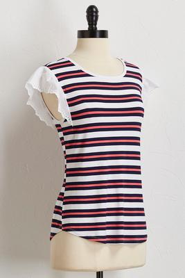 striped poplin sleeve top