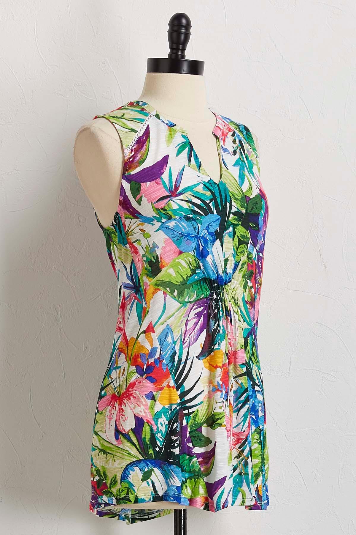 Tropical Floral Palm Top