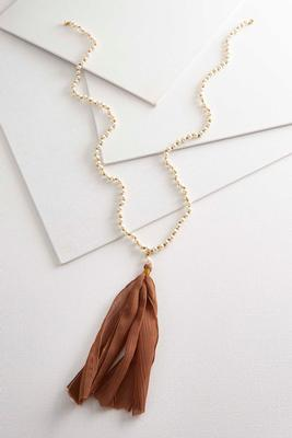 pearl fabric tassel necklace