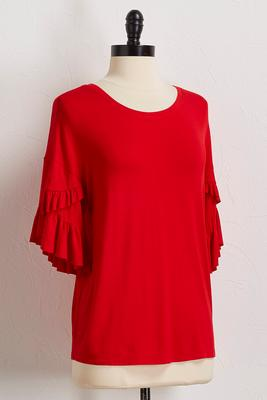 solid ruffle sleeve top