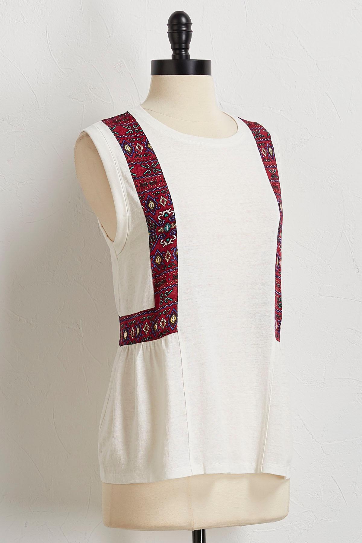 Aztec Trim Pullover Top