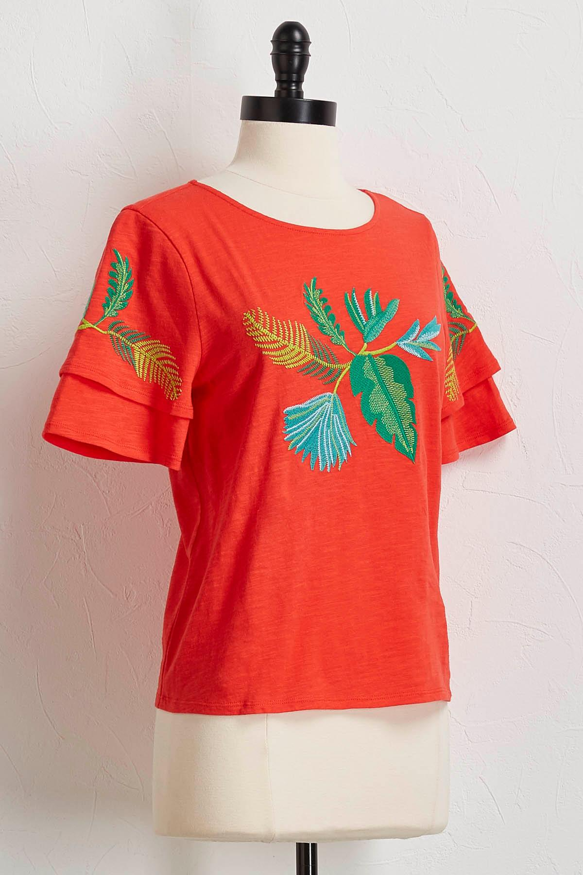 Palm Embroidered Top