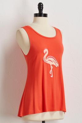 yarn textured flamingo tank