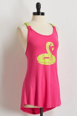 bright braided flamingo tank