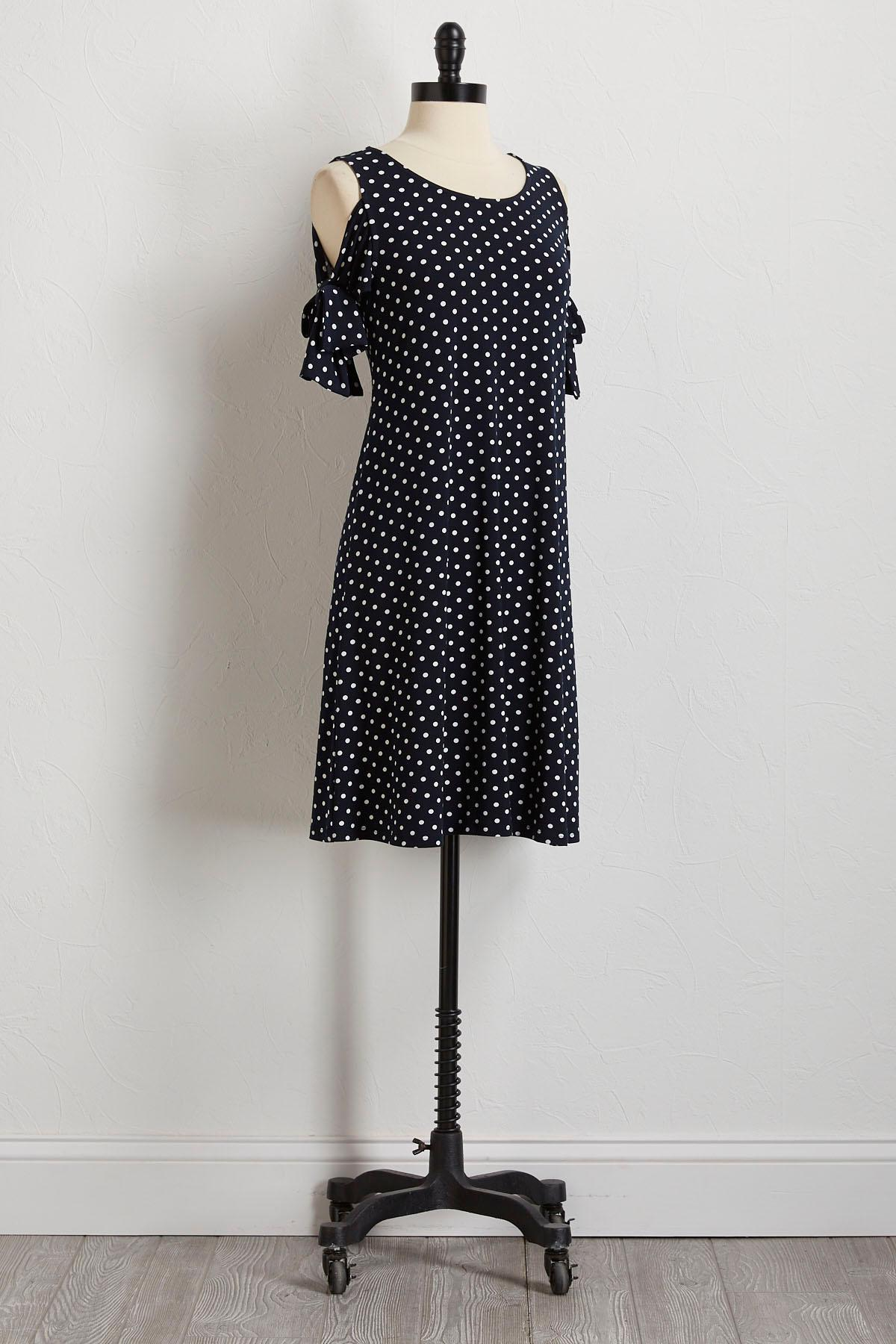 Polka Dot Tie Sleeve Shift Dress