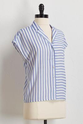blue mixed stripe top