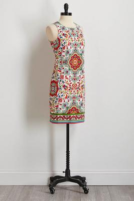 moroccan print shift dress