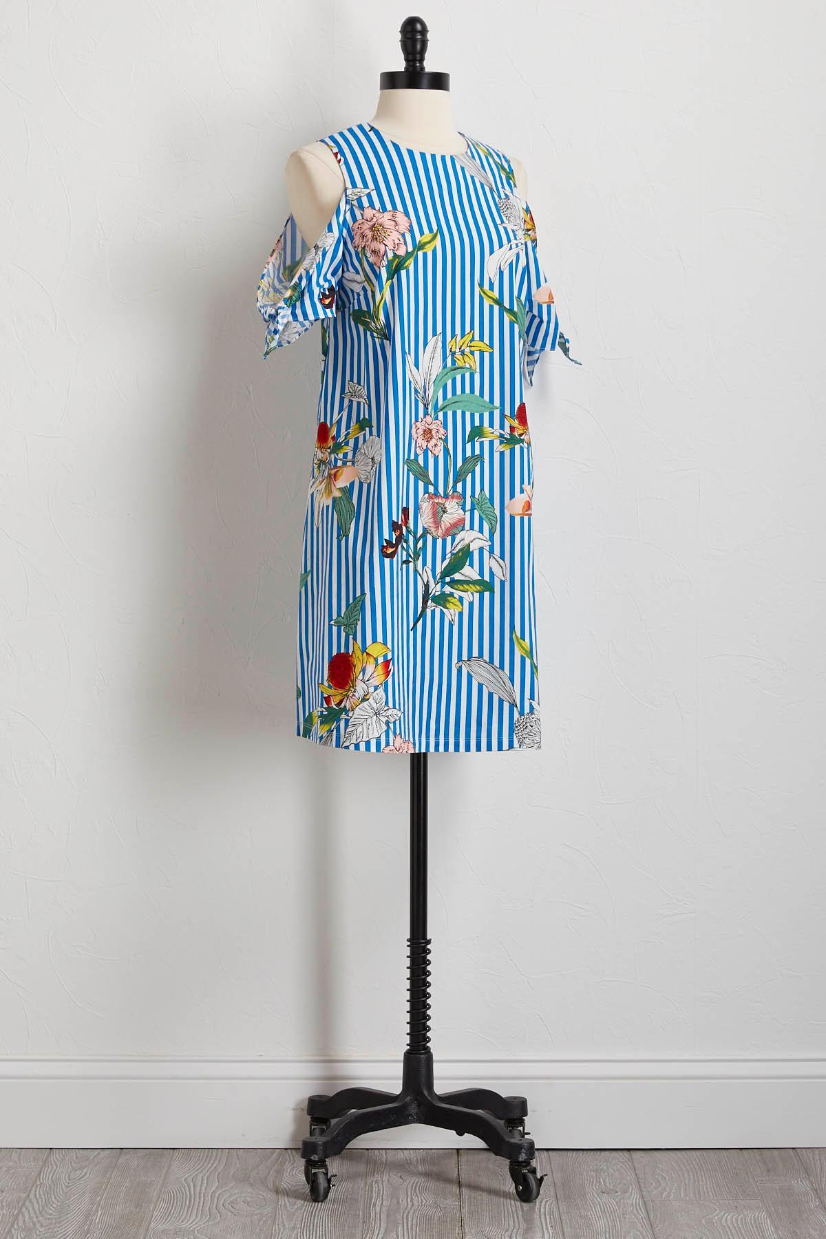 Striped Floral Bare Shoulder Shift Dress
