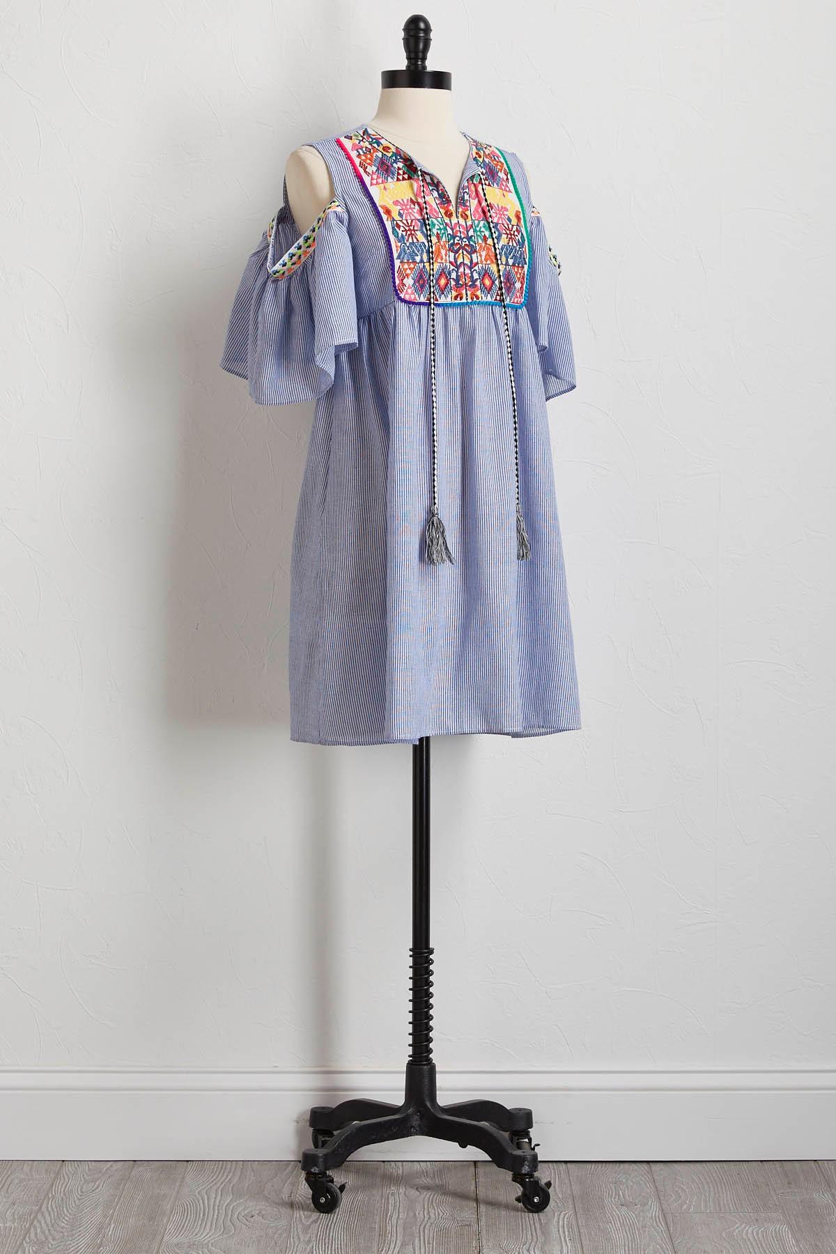 Embroidered Bare Shoulder Dress