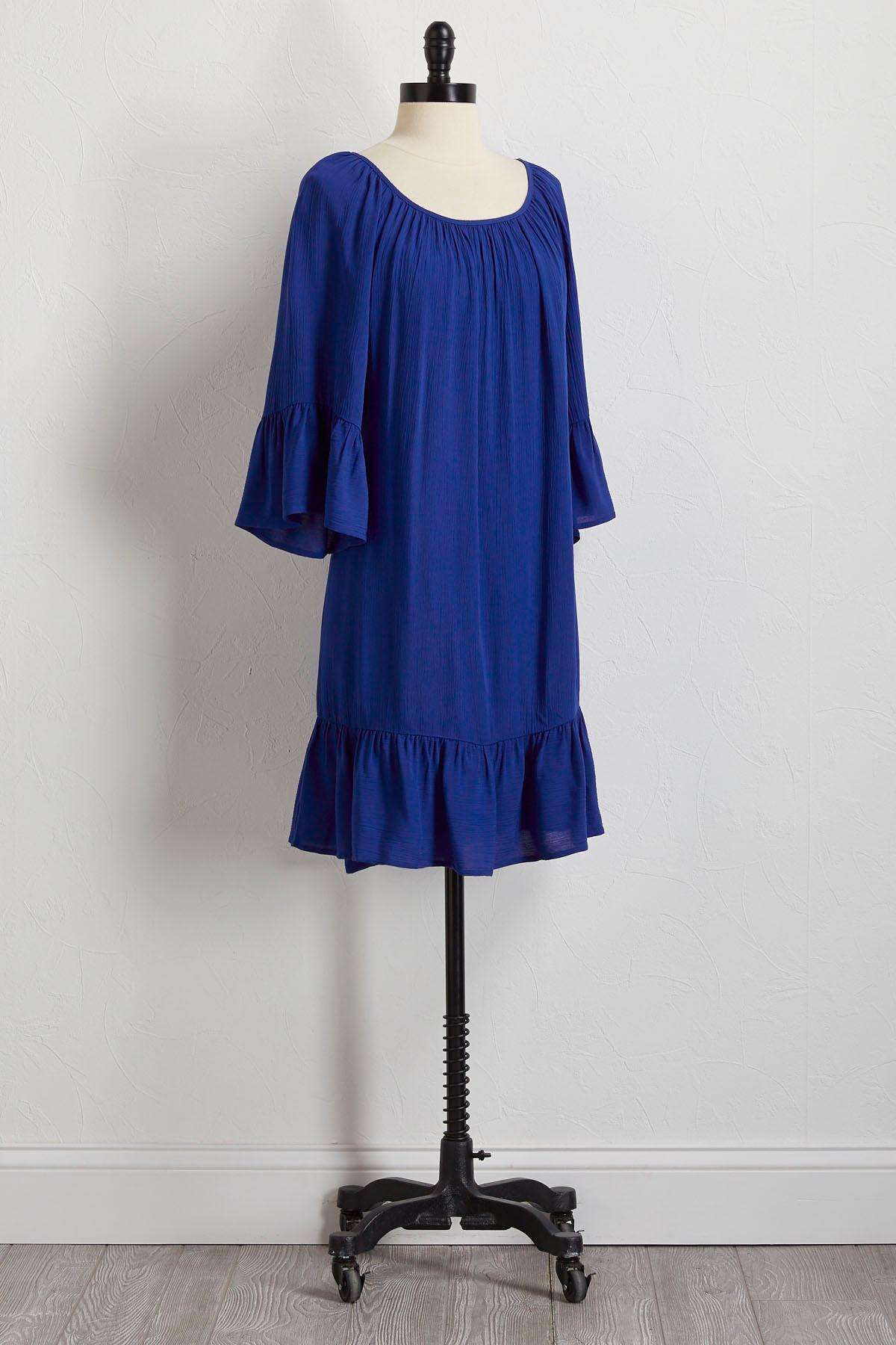 Blue Ruffled Gauze Dress