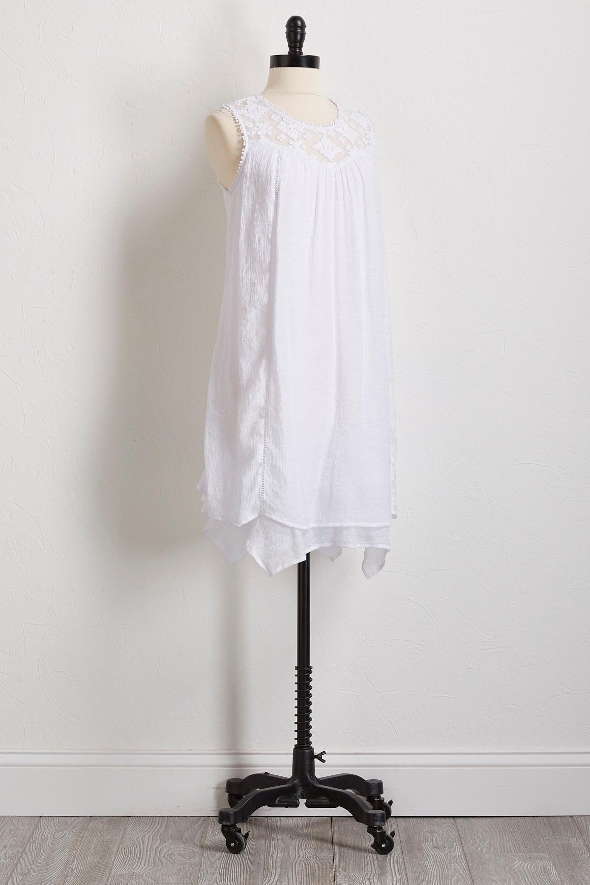 White Crinkled Gauze Shift Dress