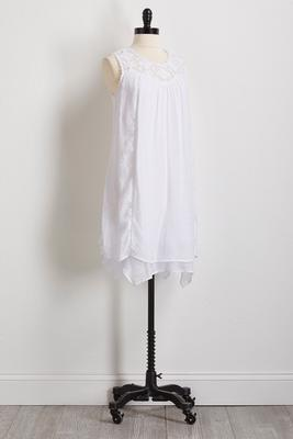 white crinkled gauze shift dress