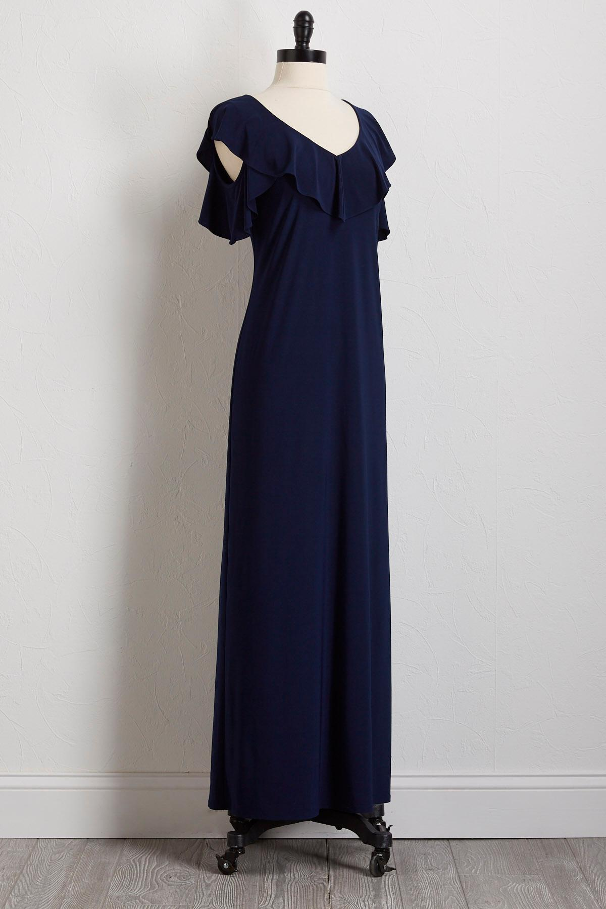 Ruffled Bare Shoulder Maxi Dress