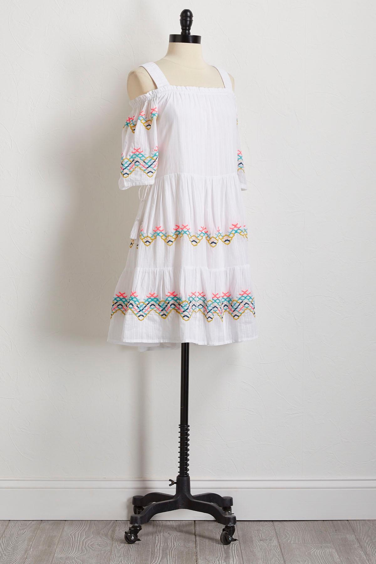 Tiered Bare Shoulder Shift Dress
