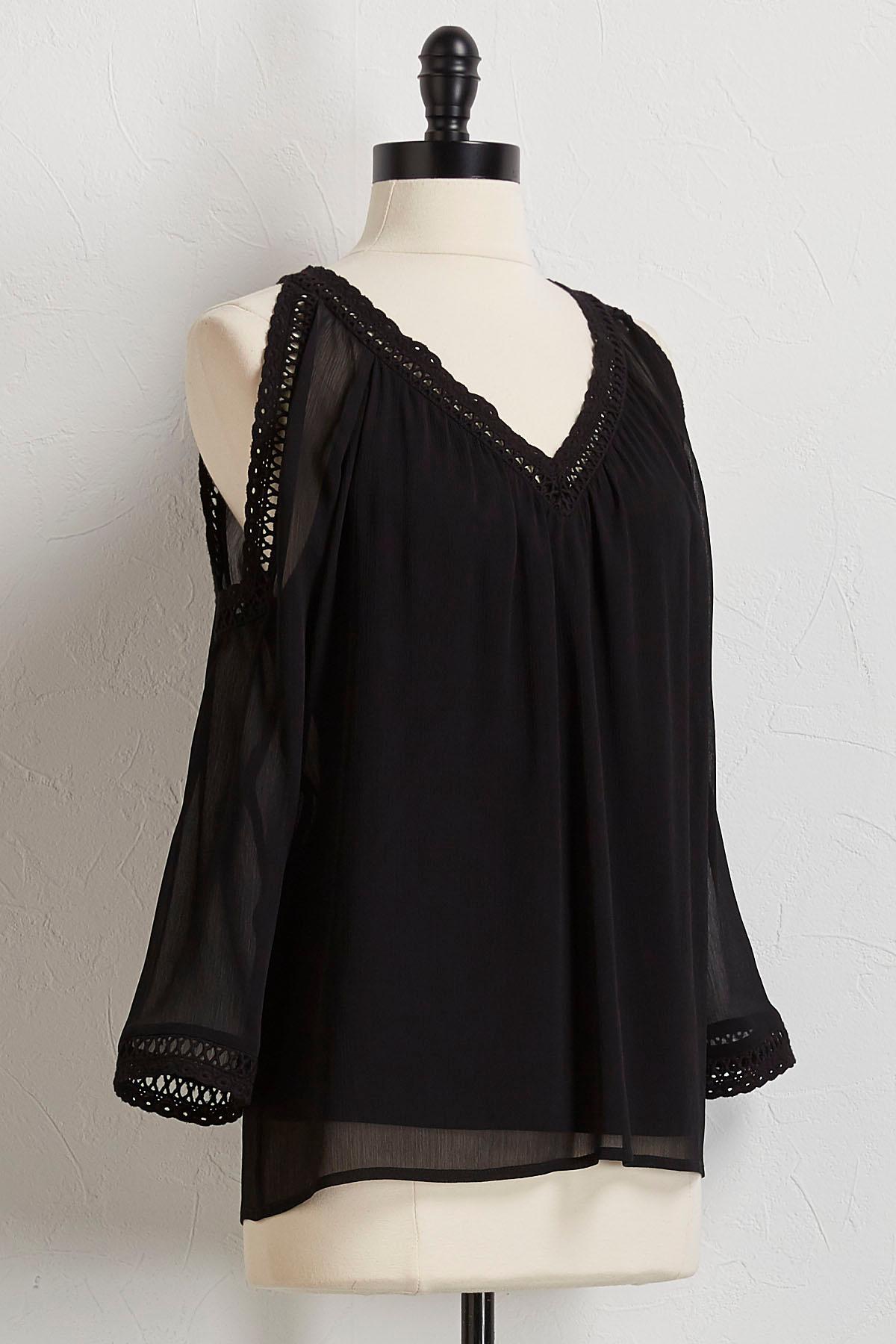 Crochet Trim Bare Shoulder Top