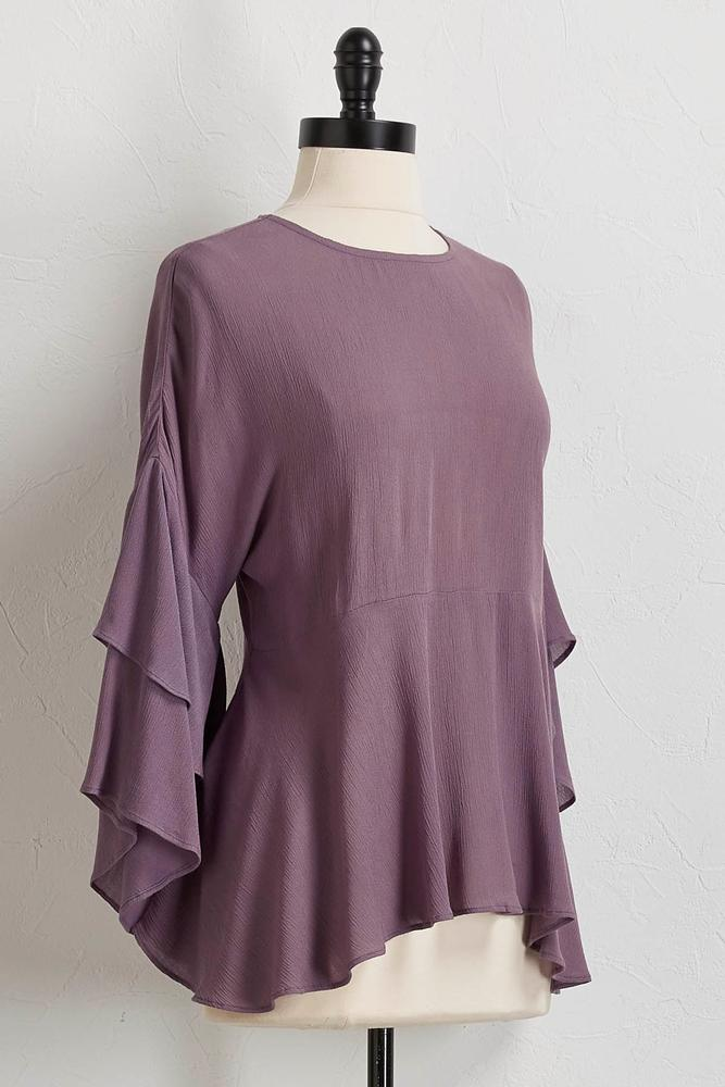 Ruffled Gauze Peasant Top