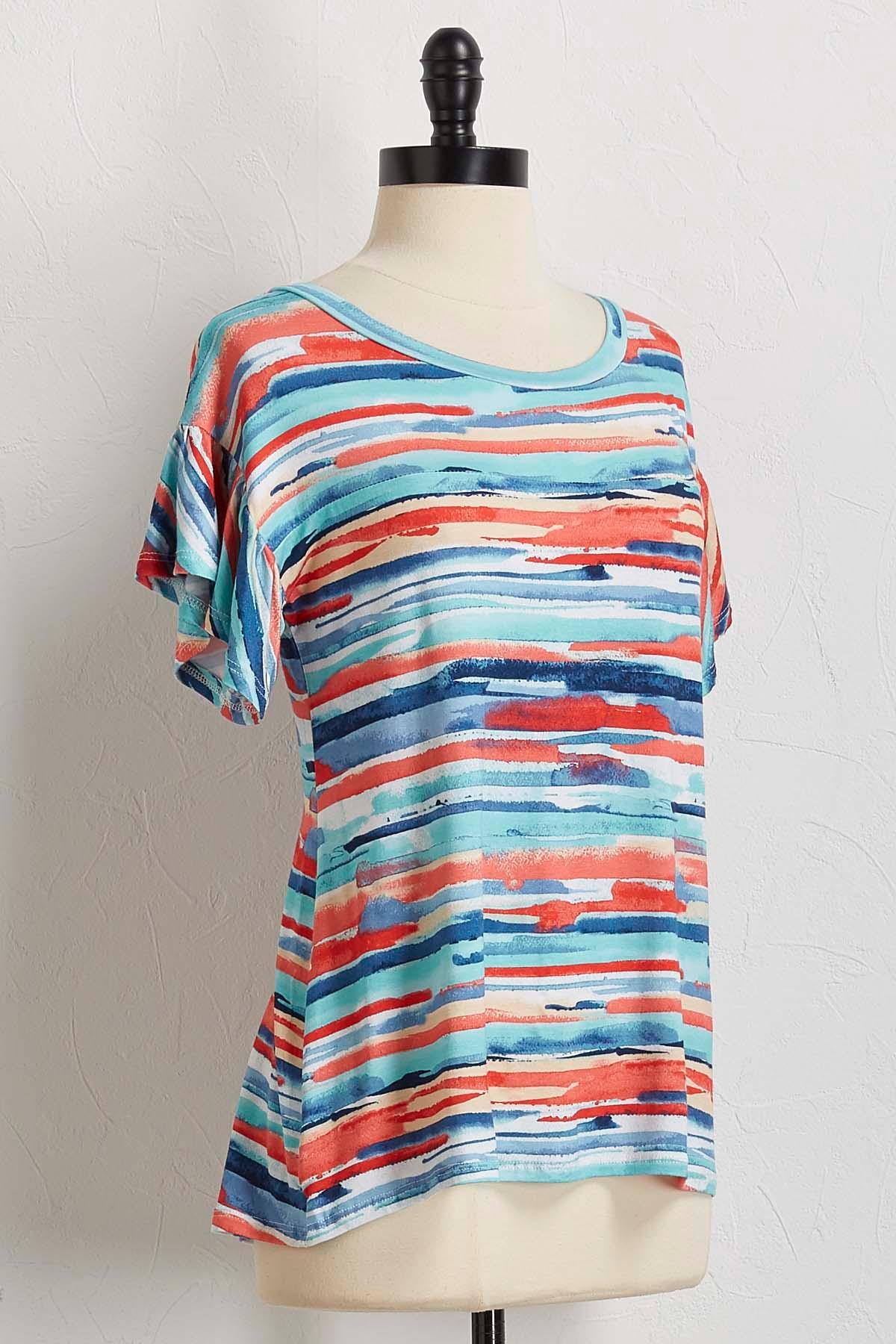 Watercolor Stripe Flutter Sleeve Top