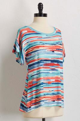 watercolor stripe flutter sleeve top