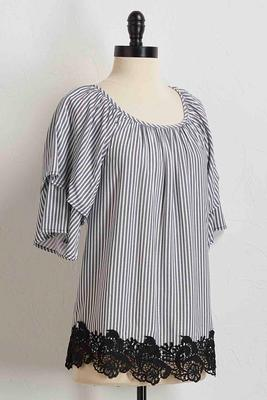 striped crochet hem top