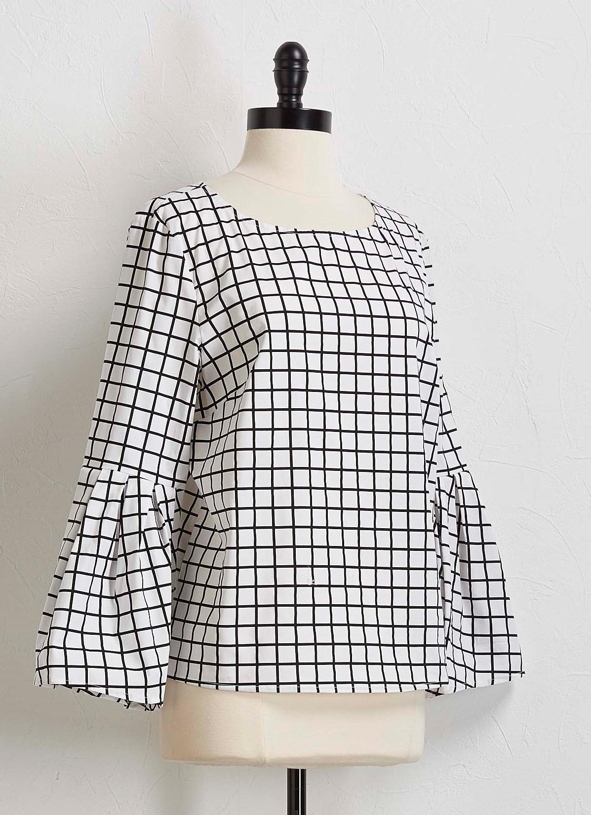 Window Pane Bell Sleeve Top