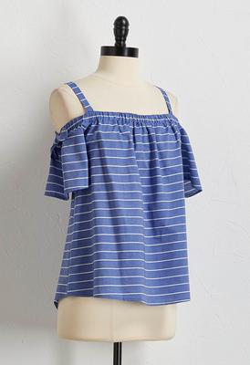 tie bare shoulder striped top