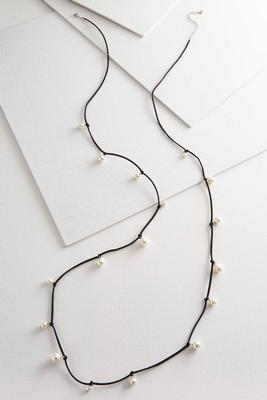 faux suede pearl necklace