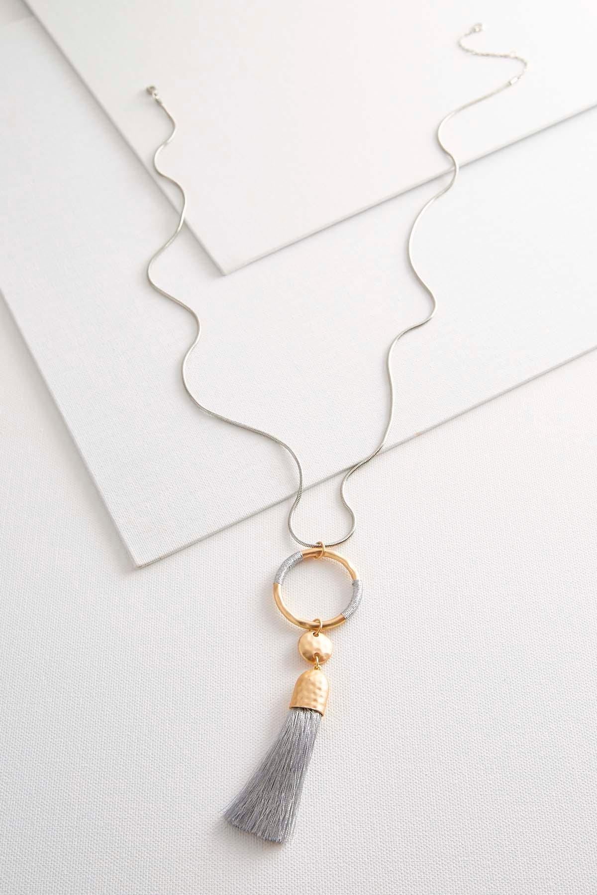 Two- Toned Tassel Necklace