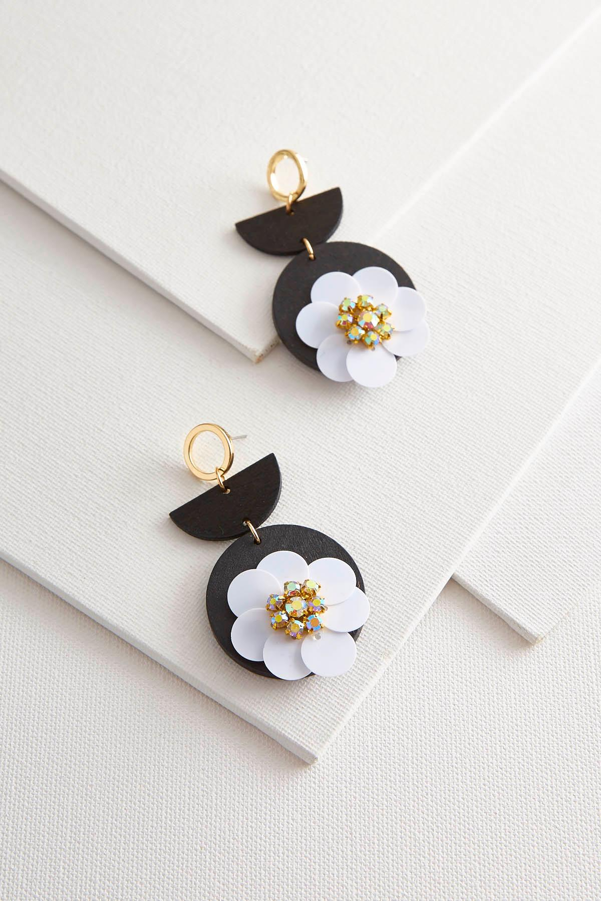 Wooden Sequin Flower Earrings