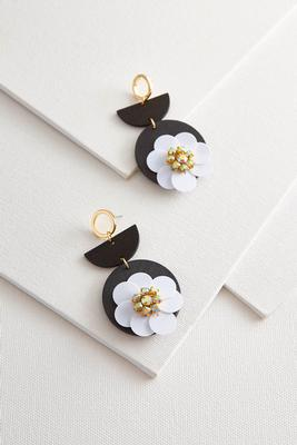 wooden sequin flower earrings