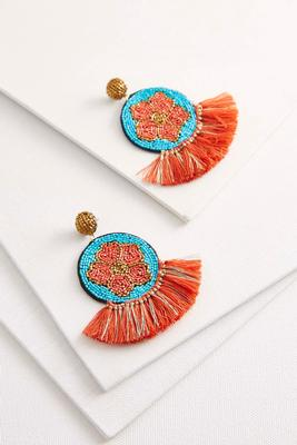 beaded flower tassel earrings