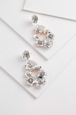 sequin floral statement earrings