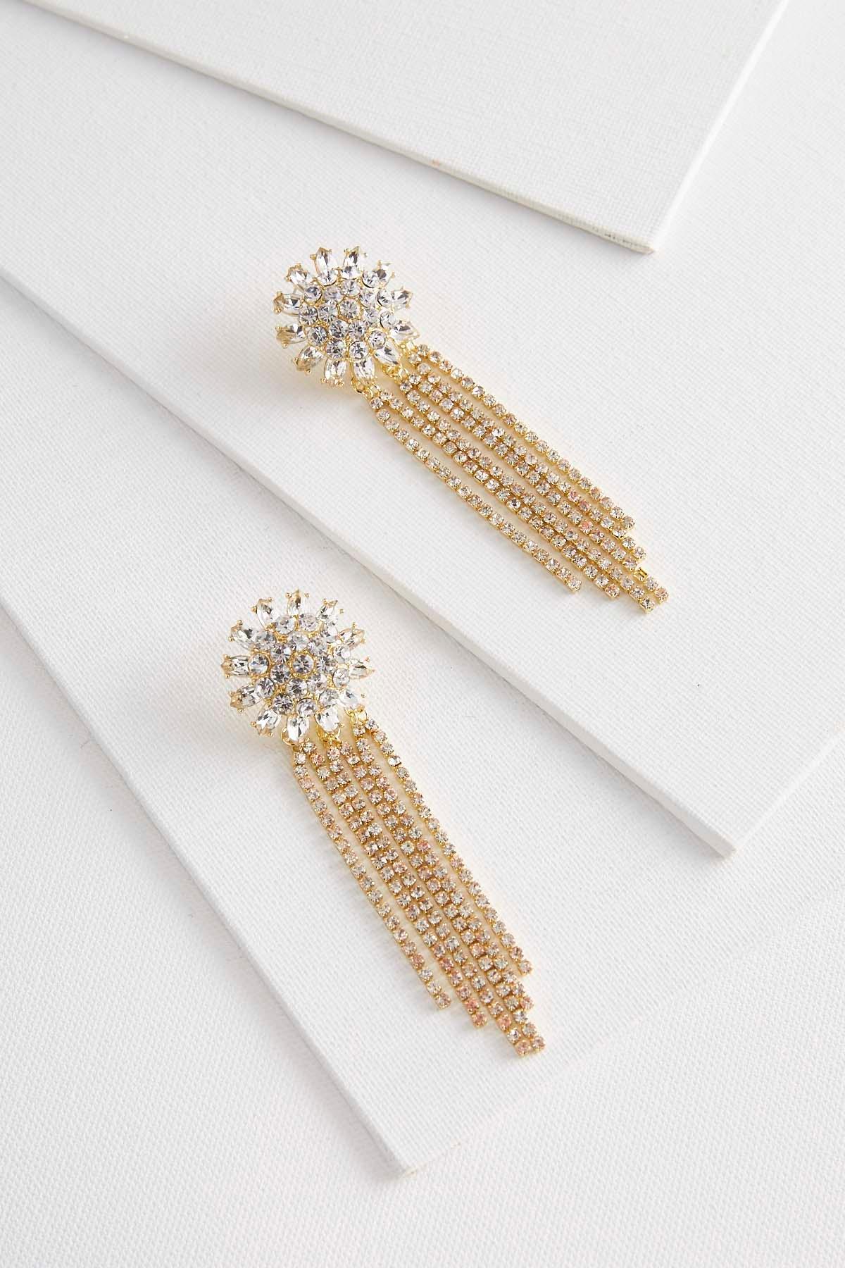 Rhinestone Floral Statement Earrings